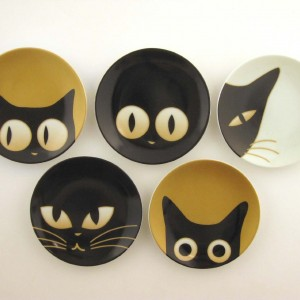 Assorted Set of 5 Cat Eyes Small Dishes