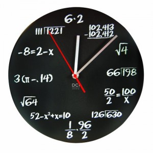Black Powder Coated Math Clock