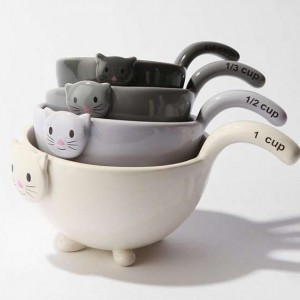 Cat-Shaped Ceramic Measuring Cups