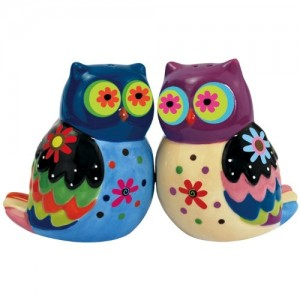 Cozy Owls Ceramic Salt and Pepper Shakers