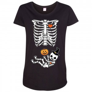 Halloween Baby Skeleton Maternity T-Shirt