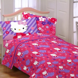 Hello Kitty Raining Flowers Twin Sheet Set