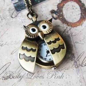 Owl Necklace with Watch