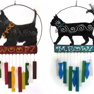 Scottie Dog or Cat Glass Wind Chime