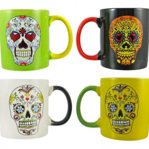 Set of 4 Sugar Skull Mugs