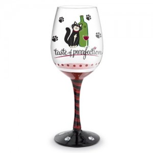 Taste of Purrfection Hand Painted Wine Glass