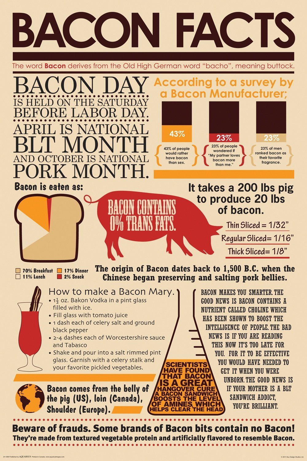 Bacon Facts Poster Gift Search