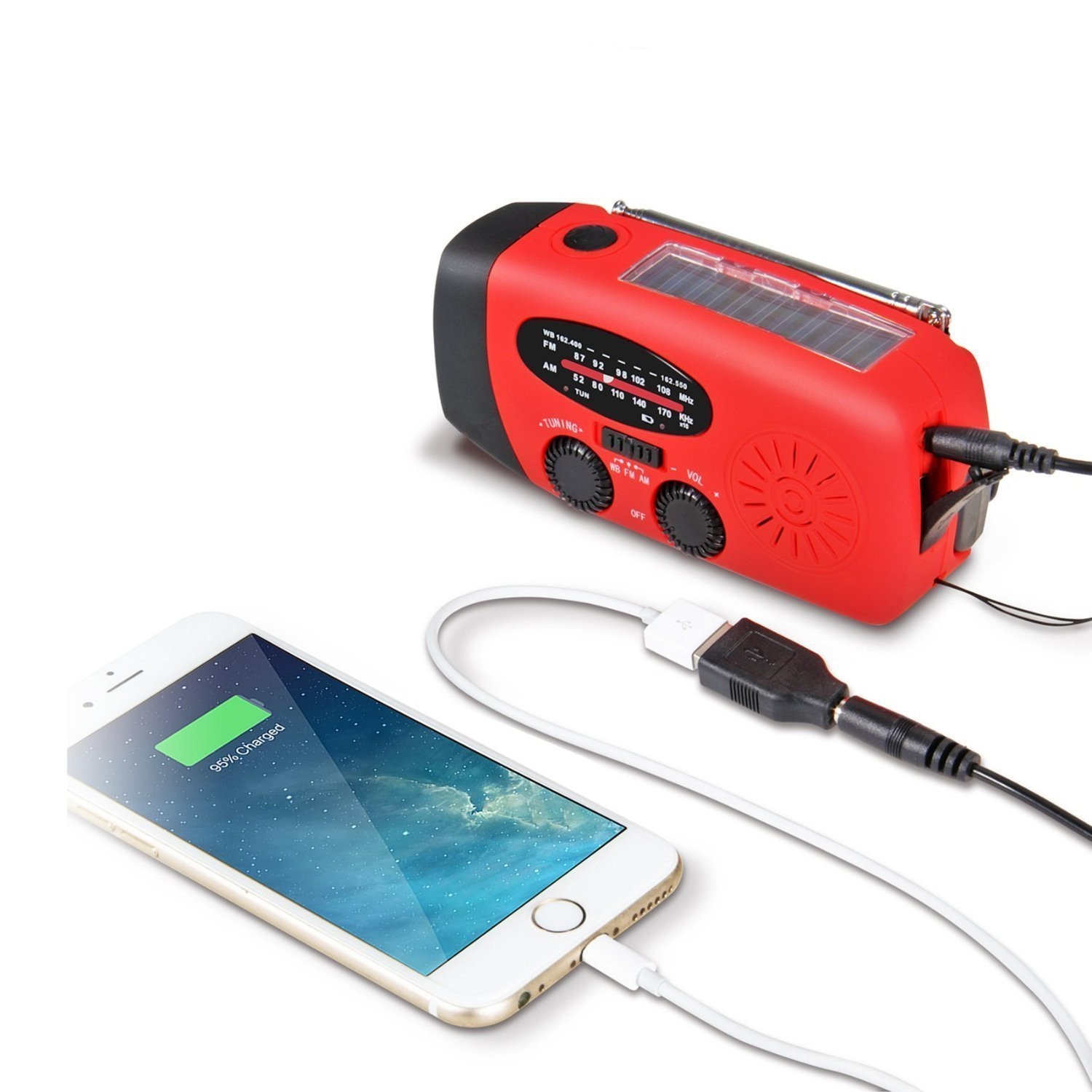 Hand Crank Self Powered USB Charger, Radio & Flashlight
