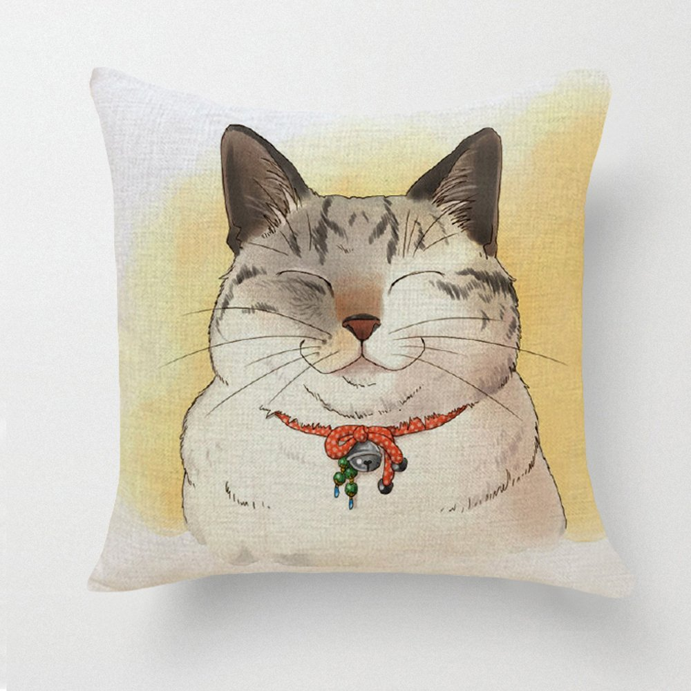 Happy Cat Pillowcase 18x18in