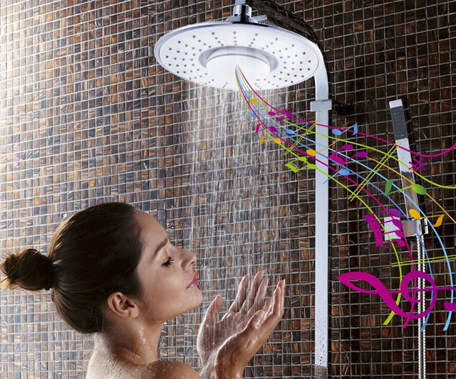 Rain Jet Showerhead with Wireless Bluetooth Speaker